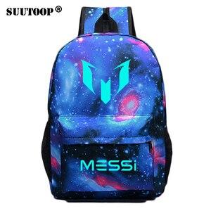 Image 1 - Светящийся рюкзак с логотипом Месси для мужчин и девочек, дорожная сумка для мальчиков и девочек в стиле ночи, школьный ранец для подростков