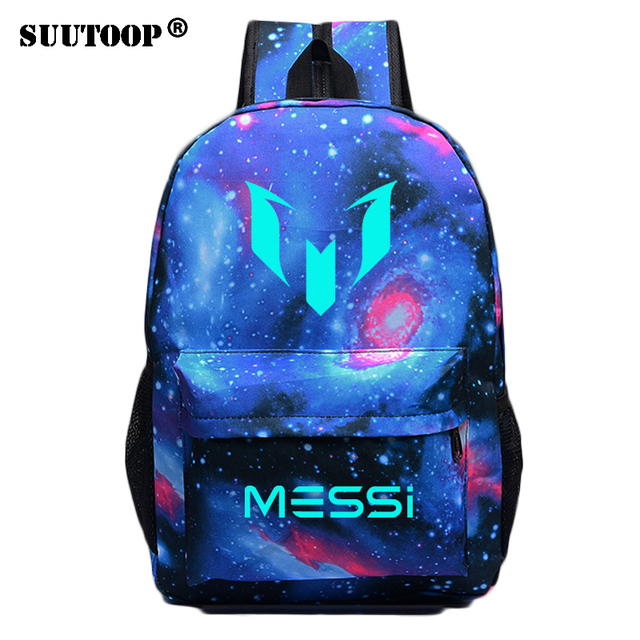 Светящийся рюкзак с логотипом Месси для мужчин и девочек, дорожная сумка для мальчиков и девочек в стиле ночи, школьный ранец для подростков