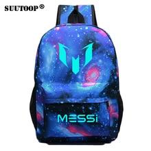 Logo Messi Nacht Leuchtende Rucksack Tasche Männer Jungen Barcelona Mädchen Reisetasche Jugendliche Schule Kinder Bagpack Mochila Bolsas Escolar