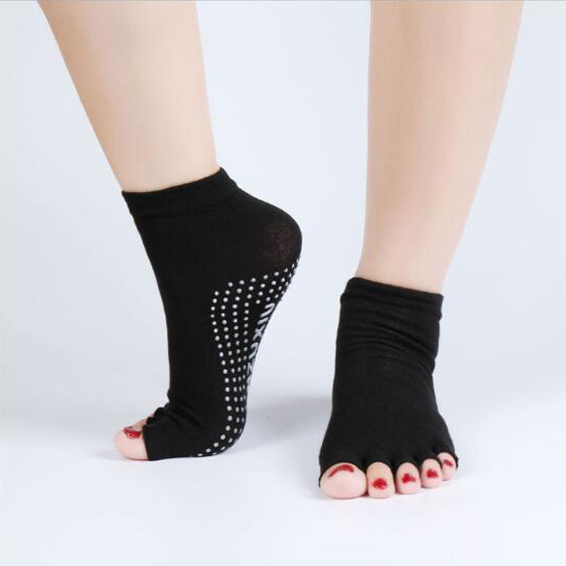 Wholesale Cotton Women Yoga Socks Anti-slip Elastic Backless Silicone Non-slip Socks Ballet Fitness Sports Dancing Pilates