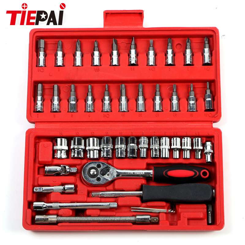 Tiepai Socket Set Repair Tool Kit 46pcs/set Car Repair Tool Ratchet Torque Wrench Automobiles Tools Kit Tool Kit For Motorcycle free ship 44pcs set chrome vanadium steel amphibious socket wrench set spanner car ship machine repair service tools kit