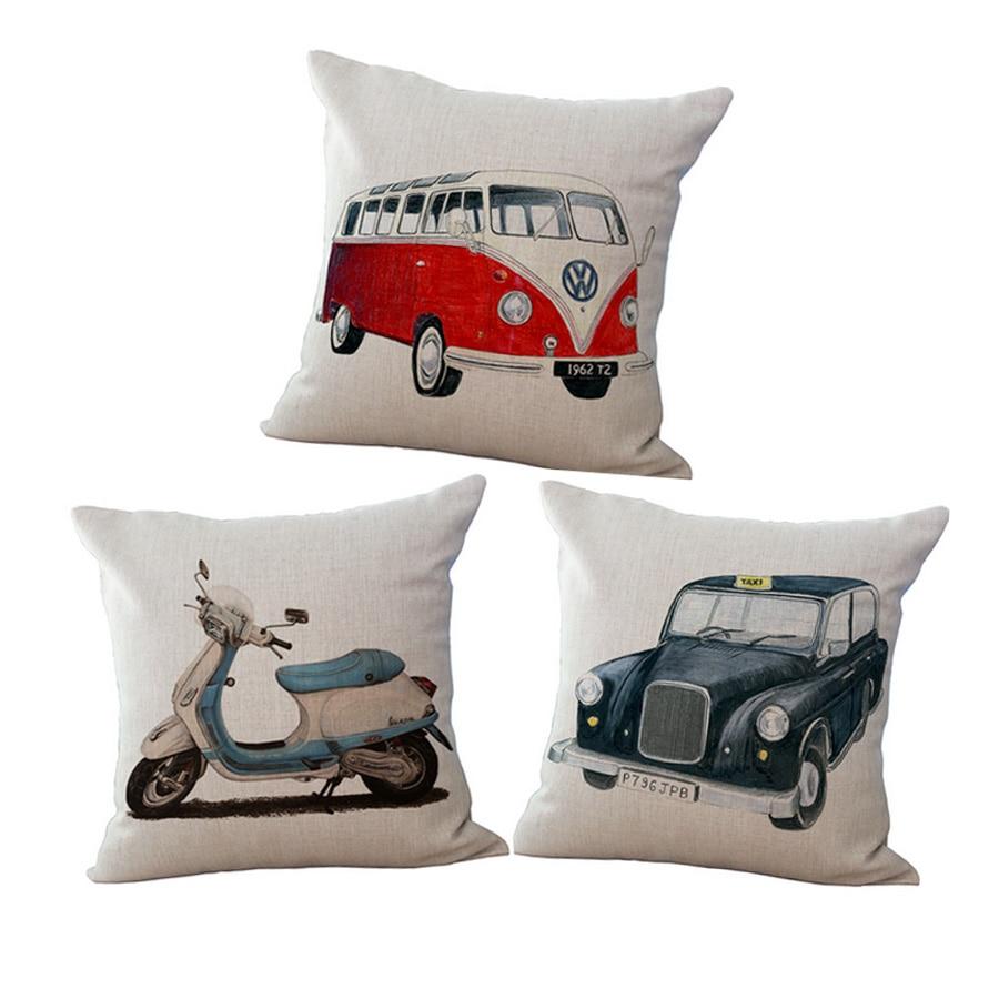Nordic Cartoon Pillow Vintage Car Linen Cotton Sofa Pillow