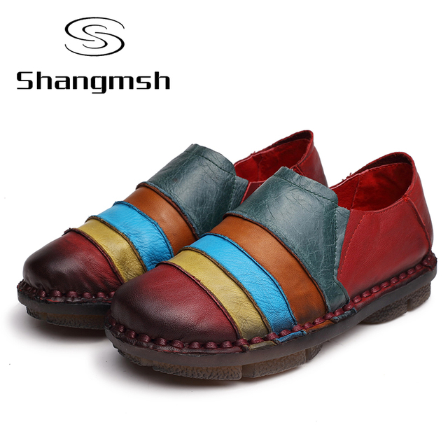 2017 Ballet Casual Shoe Women Genuine Leather Shoes Flats Flexible Nurse Loafer Flats Comfortable Mom Pregnant Shoes For Lady