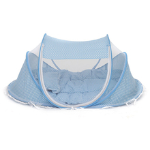 Cute Baby Crib 3Pcs Portable Type Comfortable Babies Pad with Sealed Mosquito Net Kids Infant Bed Dot Zipper Canopy Mosquito Net