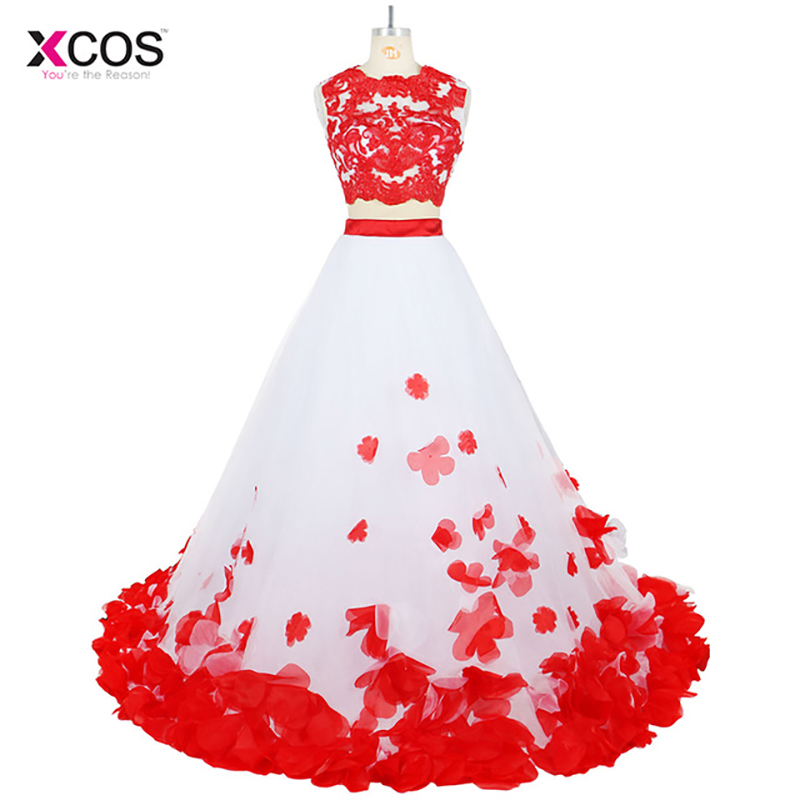 3D Flower Bohemia White Red Lace   Prom     Dresses   Beach Two Pieces Tulle Women Party Long   Prom   Gowns 2017