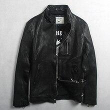 Avrex Мужская Модная приталенная куртка из натуральной кожи с передним карманом черная вымытая овчина настоящая кожаная мужская куртка