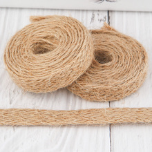 10 Meters Burlap Lace Ribbon Fabric High Quality Braided Hemp Rope Ribbon By The Roll Weaving Shoes Hat Gift Crafts Decorative цены