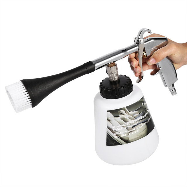 Car Cleaning Gun Air Pulse Washer Equipment High Pressure Nozzle Foam Bottle with Durable Brush High Pressure Interior Clean