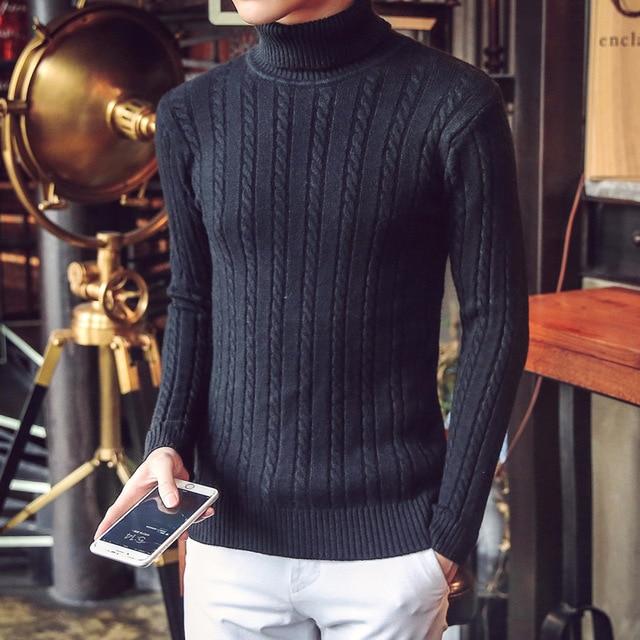S958 malha camisola do inverno dos homens da marca de outono slim fit moda mens gola mens camisolas elegante puxar homme