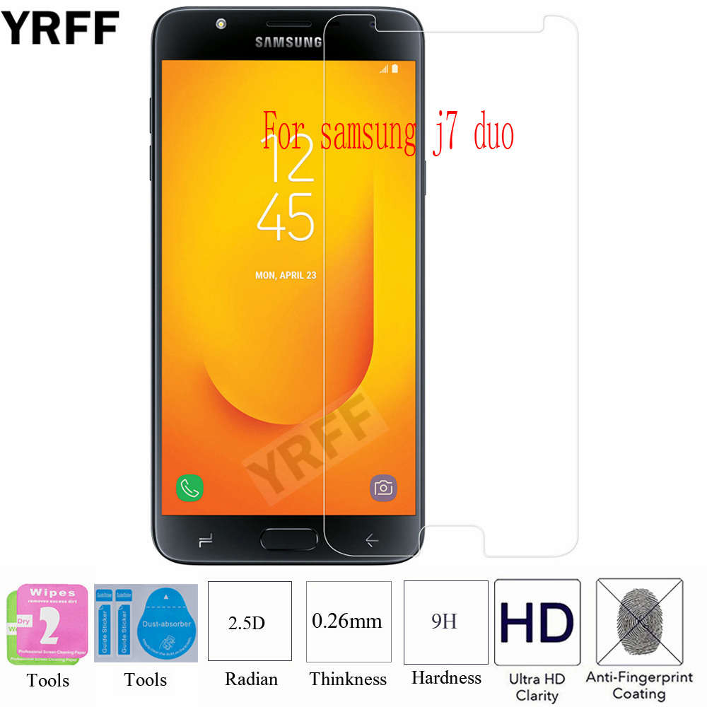2PCS 2.5D 0.25mm 9H Tempered Glass Screen Protector Protective Film For Samsung Galaxy j7 duo For Samsung Galaxy j7 Prime 2