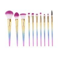 10 Pcs Professional Cosmetic Brush Set Makeup Blusher Eye Shadow Brushes Set Kit With Brush Bag