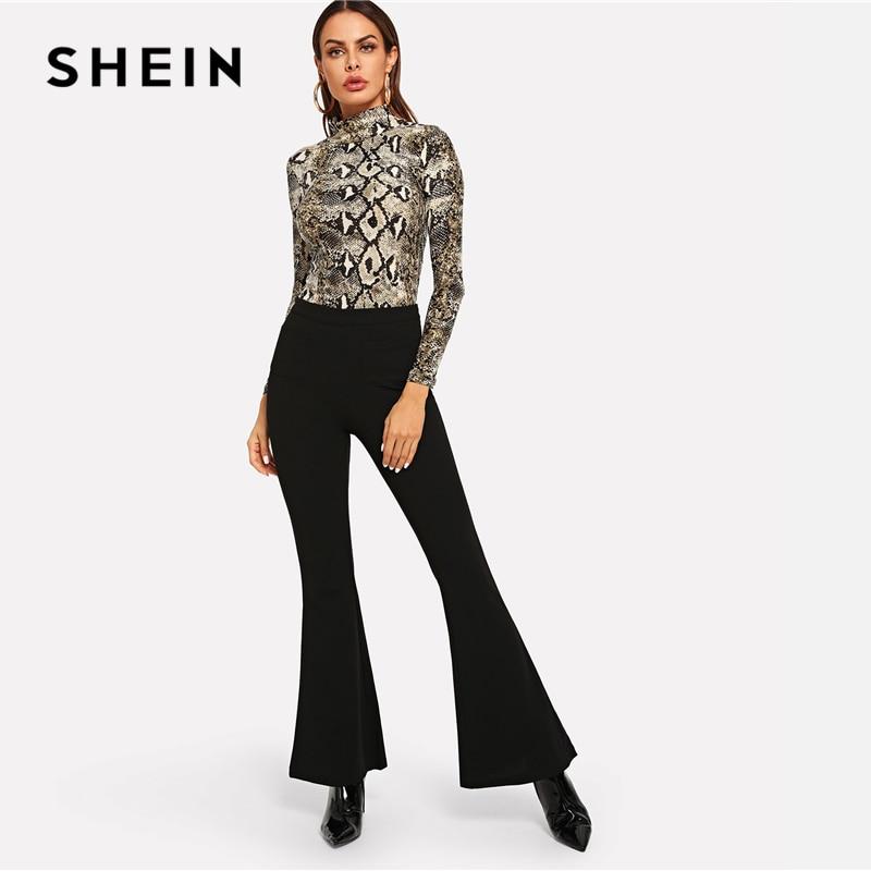 77b1a03419 SHEIN Multicolor Elegant Office Lady High Neck Snakeskin Print Skinny Long  Sleeve Tee Autumn Workwear Women ...
