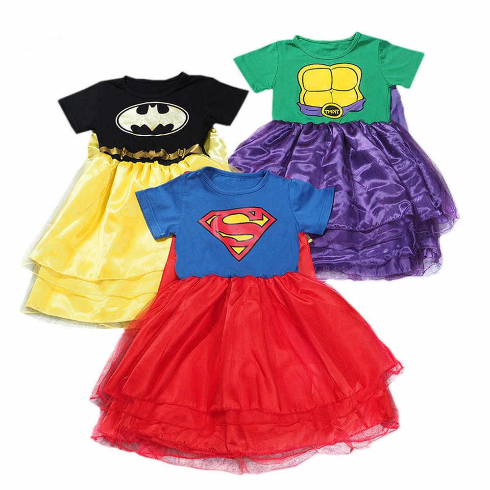 bbde4b85ab8 ... От 3 до 10 лет Бэтмен Дети девочек супердевушки Супермен платье Косплэй  TMNT костюм детский день ...