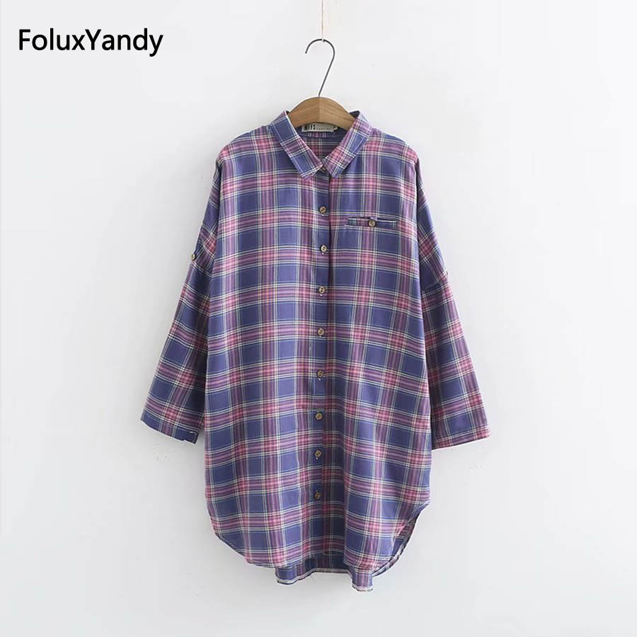 Loose Casual Plaid   Blouses   Plus Size Women Turn-down Collar Long   Blouse     Shirt   KKFY2179
