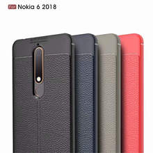 For Nokia 6 2018 5.5 inch Case Lichee Pattern Leather Design Shockproof Soft TPU Silicone Back Cover Fashion