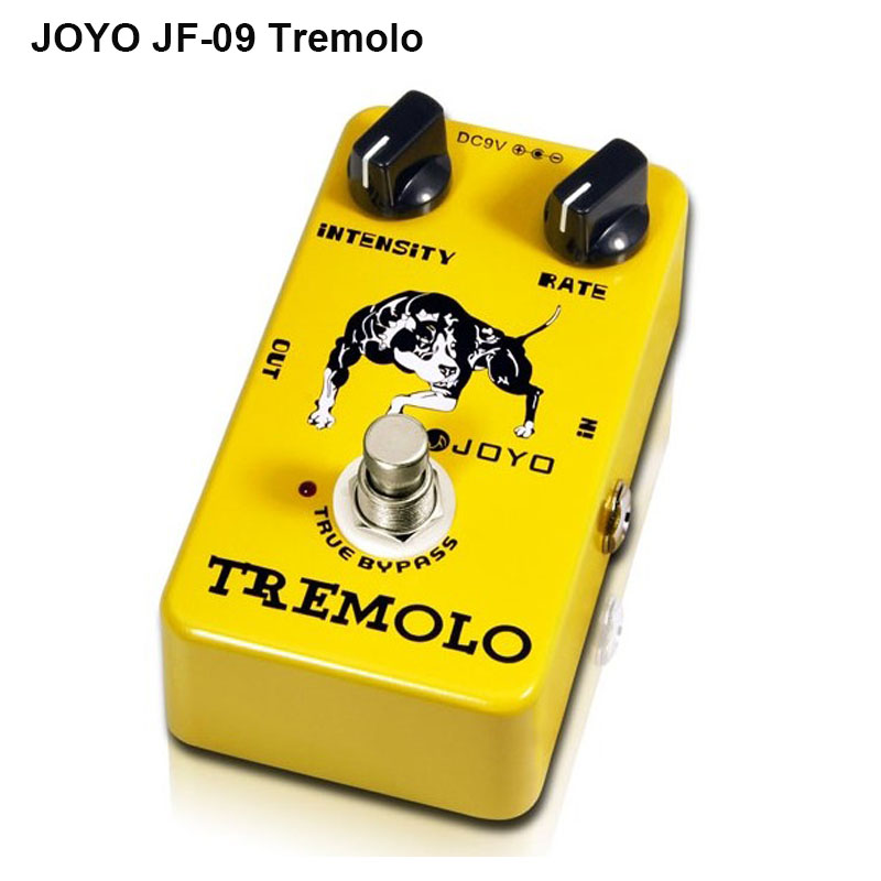 JOYO JF-09 Tremolo Guitar Effects Pedal with Intensity Rate Knob Tone of Tube AMP Full Metal Shell True Bypass Free Shipping joyo clean glass amp simulator electric guitar effect pedal true bypass jf 307 with free 3m cable