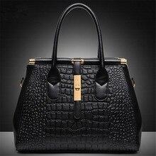 2016Fashion Women Leather Crocodile Shoulder Bag With Alligator Embossed Handbag Messenger Bags For Ladies Crossbody Bags Frame