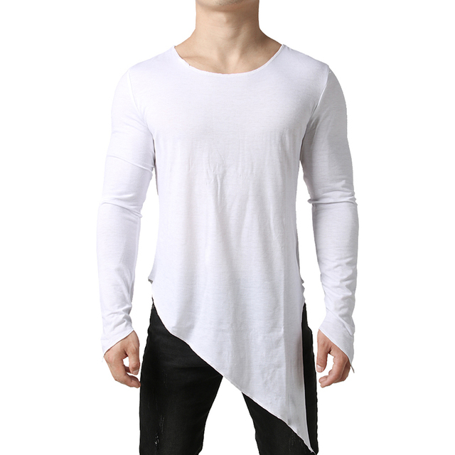 5a65121d9169 Extra Long T Shirt Men 2019 Mens Tyga Swag Longline Tuxedo Tshirt Harajuku  Streetwear Long Sleeve Tee Shirt Homme Casual Tops
