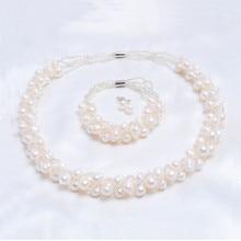 ASHIQI настоящий натуральный пресноводный жемчуг ручной работы Ювелирные наборы и больше ожерелье браслет 925 серебряные серьги для женщин свадебный подарок