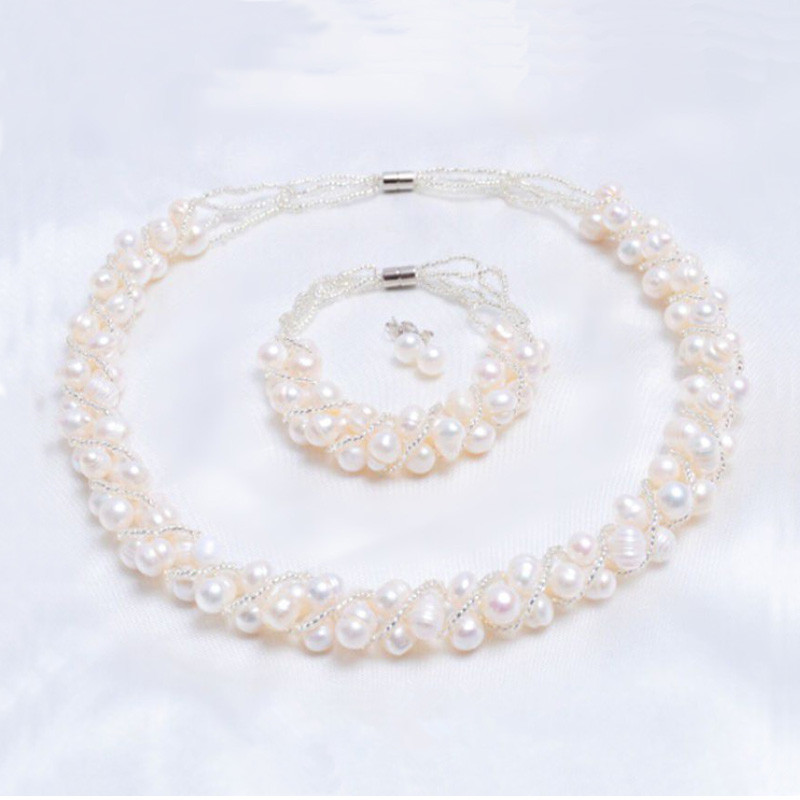 ASHIQI Real Natural Freshwater Pearl Handmade Jewelry Sets & More Necklace Bracelet 925 Silver Earrings For Women Wedding Gift