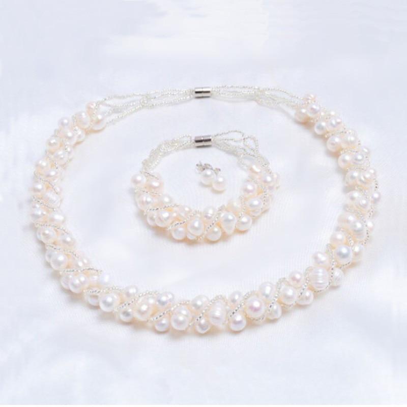 ASHIQI Real Natural Freshwater Pearl Handmade Jewelry Sets More Necklace Bracelet 925 Silver Earrings for Women Innrech Market.com