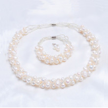 AAA Natural freshwater pearls Necklace/Earrings/Bracelet Perfect collocation,Jewelry Sets wholesale