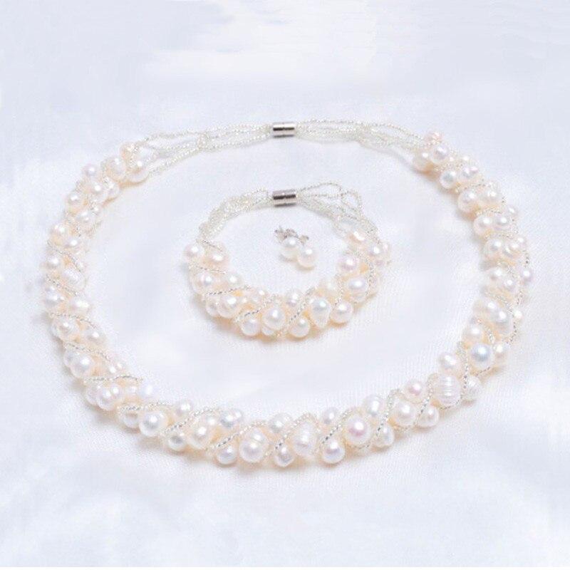 ASHIQI véritables ensembles de bijoux faits à la main en perles d'eau douce naturelles et plus de 4 couleurs collier boucles d'oreilles Bracelet pour femmes cadeau de mariée