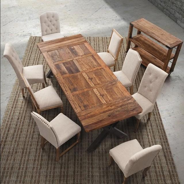 € 2119.39 |Estilo europeo retro rectangular de comedor mesa de comedor  combinación de madera maciza, barra de hierro forjado sillas pequeñas cena  ...