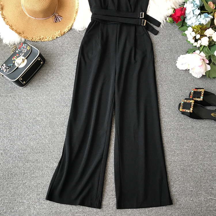 ALPHALMODA 2019 Spring Ladies Sleeveless Solid Jumpsuits V-neck High Waist Sashes Women Casual Wide Leg Rompers 13