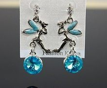 Fashion Hot Sale Gaya Baru Indah Angel Blue Crystal Anting-Anting E96(China)