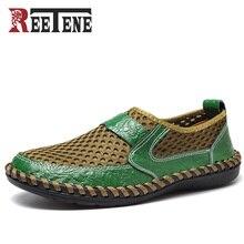 2017 sommer Atmungsaktives Mesh Schuhe Herren Freizeitschuhe Echtes Leder Slip On Marke Mode Sommer Schuhe Mann Weichen Bequemen