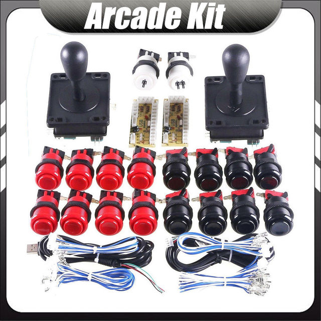 DIY Retro Happ Arcade Joystick Push Button Kit with Zero Delay USB Encoder Game Machine Parts Jamma 1 2 Player Raspberry Pi Set