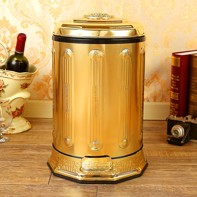 Luxury 10 6 Gold Stainless Steel Metal Trash Can Garbage Cans With Foot Pedal Box Bag Storage For Home Decor Ljt002a