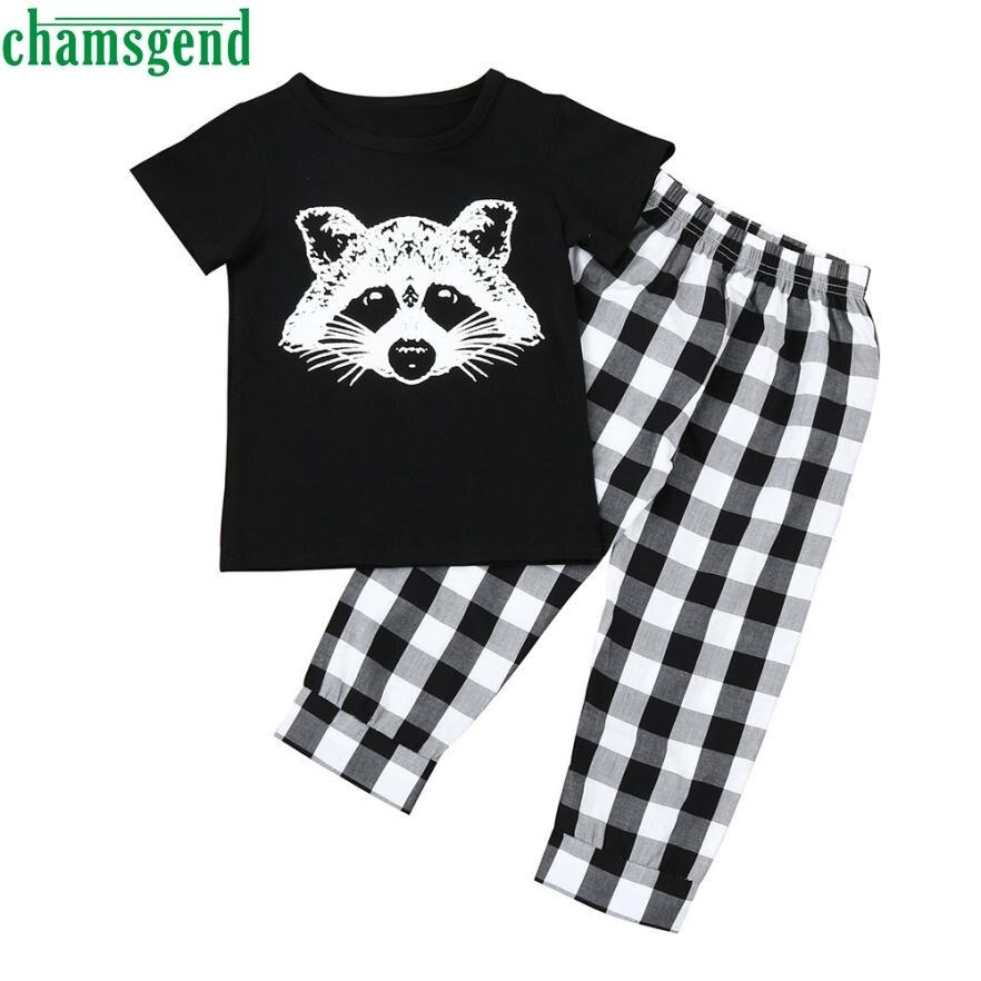 CHAMSGEND cute Toddler Infant Baby Boy Girl Fox Character Short O-Neck Cotton T shirt Tops Plaid Pants Clothes Set P30 APR4 2pcs set baby clothes set boy