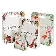 10pcs/lot Cartoon Rich Bird Flamingo Gift Bag Kraft Paper Portable Decorative Pack Supply 3 Design For Choose