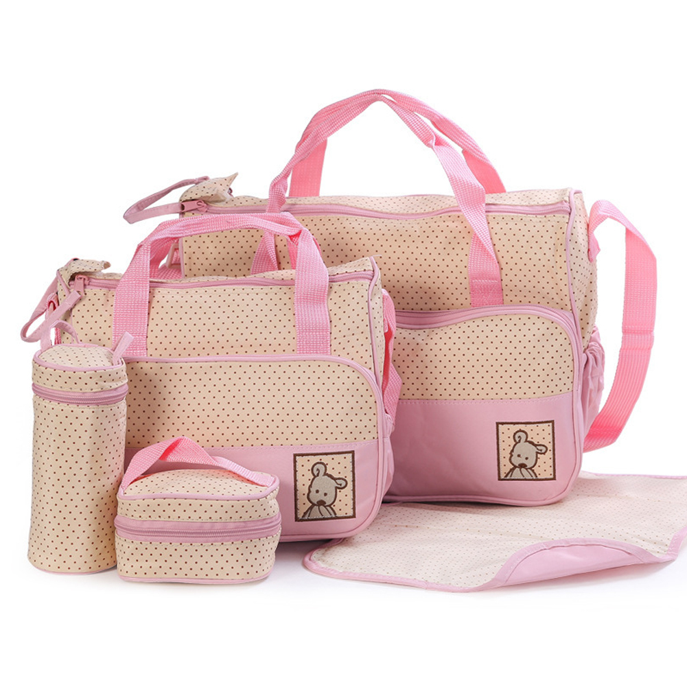5pcs Baby Changing Nappy Practical For Mom Dots Print Diaper Bags Set Waterproof Oxford Cloth Large Capacity Multifunctional