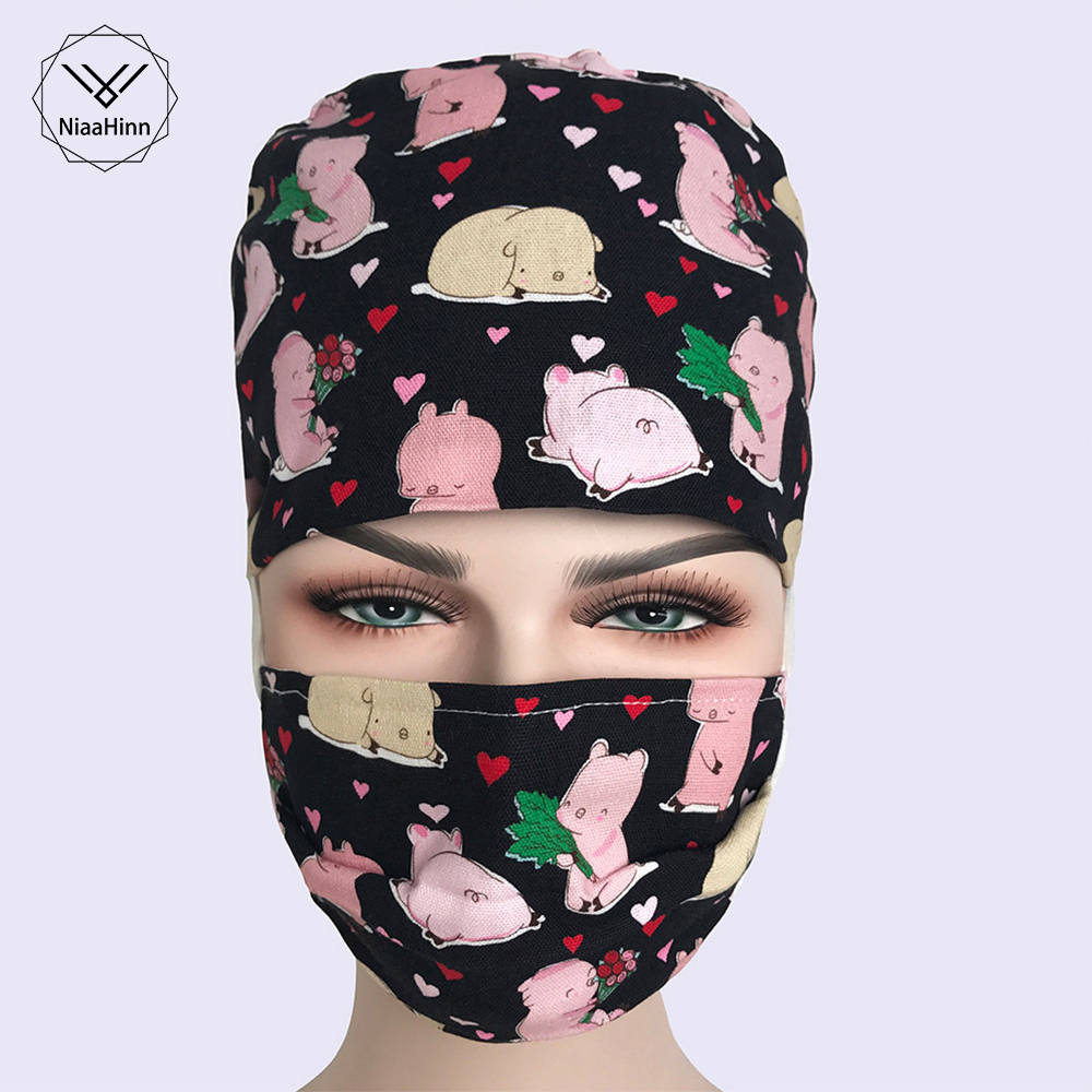 New Wholesale Print Cotton Soft Doctors Nurses Hats Hospital Medical Caps Surgical Scrub Lab Dental Clinic Surgery Hat Masks
