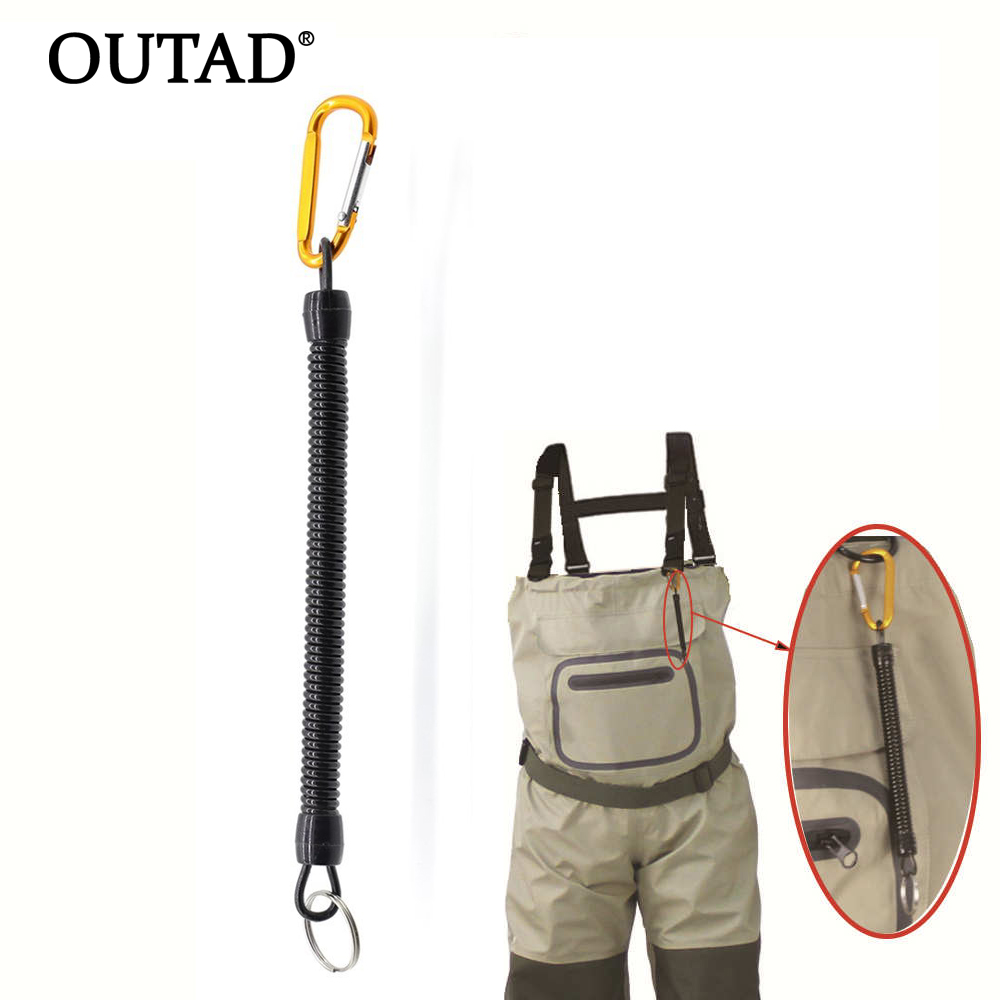 OUTAD Outdoor Tool Fishing Spring Lanyard Cord Hook Secure Pliers Lip Grips Anti-Rust Waterproof Adjustable High Elastic