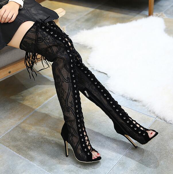 ФОТО MANMITU10-Free Shiping 2017 Vintage style Lace Shoes Women Thigh High Boots Fashion Sexy Lace Tall Sandals Boot Botas Peep Toe