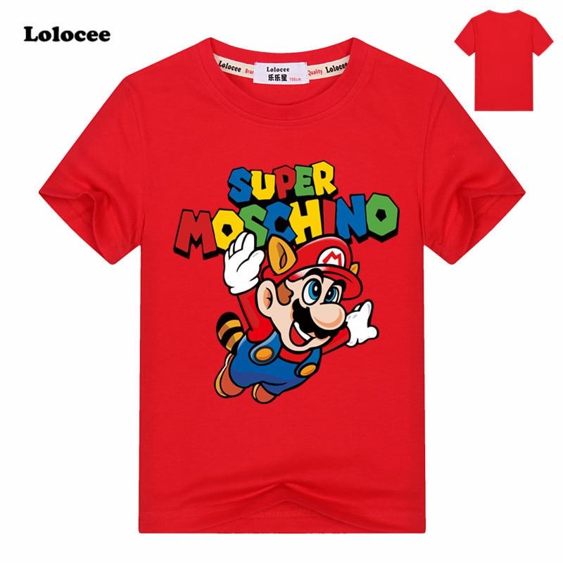 2017 Summer Kids  Mario Run Cartoon Game T-shirt Boys Short Sleeve Cool TShirts Child Print Super Mario Tops & Tees 3-13Y