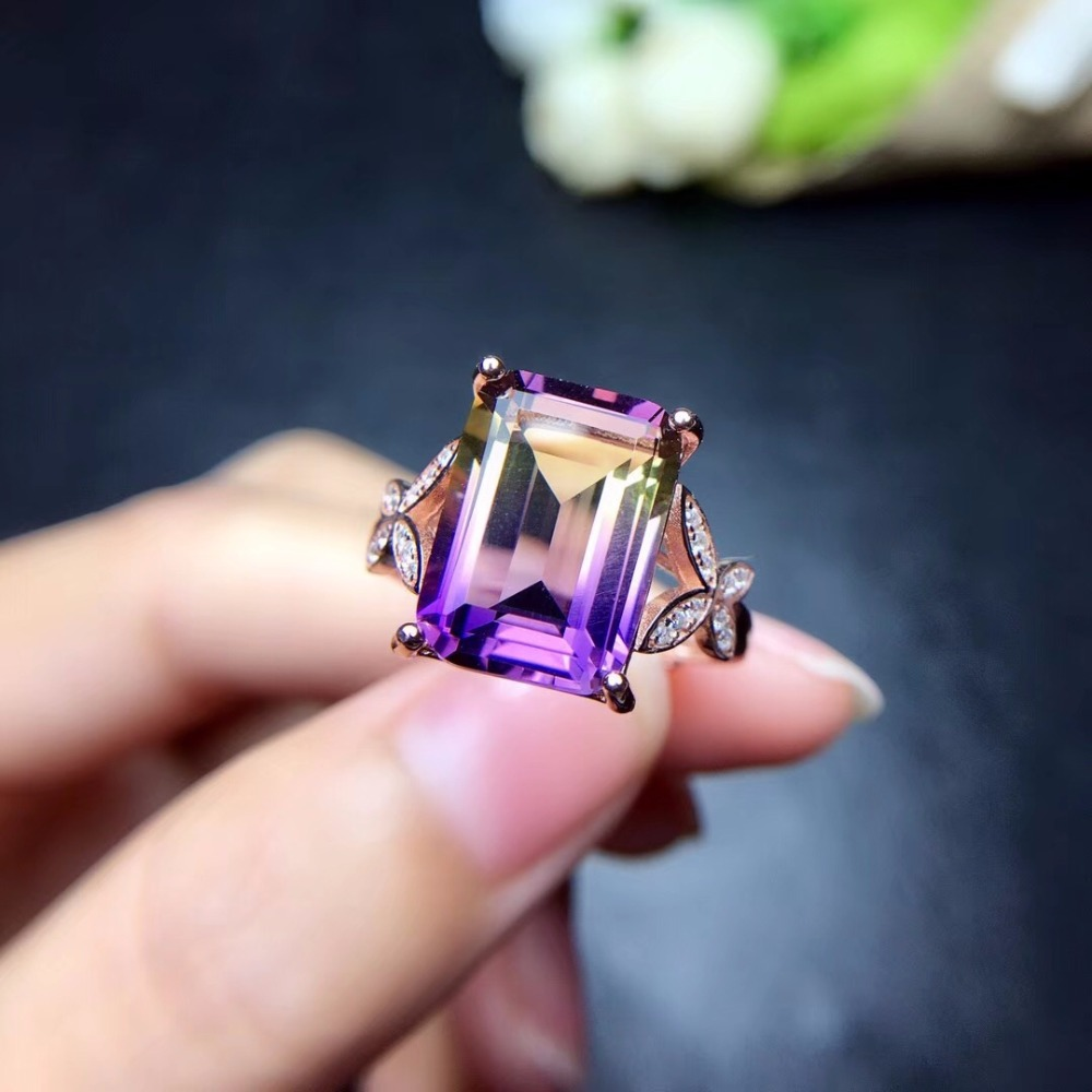 HTB1nZlJbELrK1Rjy1zbq6AenFXaK - Uloveido Exquisite Gemstone Natural Amethyst Lady Ring 925 Sterling Silver