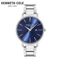 Мужские Часы Kenneth Cole, кварцевые часы, серебристый, черный браслет из нержавеющей стали, водонепроницаемые часы KC15059001, роскошные Брендовые Ча