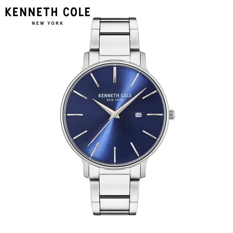 Kenneth Cole hommes montres Quartz argent noir en acier inoxydable Bracelet Date résistant à l'eau KC15059001 marque de luxe montres