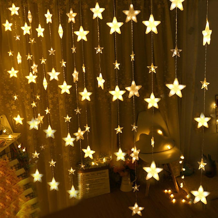 где купить Thrisdar 4M 252Leds Full Star Window Curtain LED String Fairy Light 8 Mode Wedding Christmas Twinkle Star Window Icicle Garland дешево