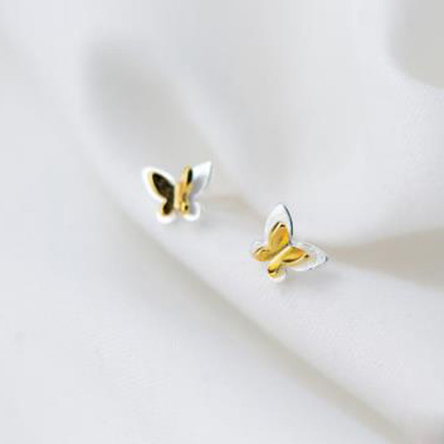 d8297008e New 1pair 925 silver ear nail, female fashion, Sweet gold butterfly  earnail, temperament simple ear stud ear jewelry
