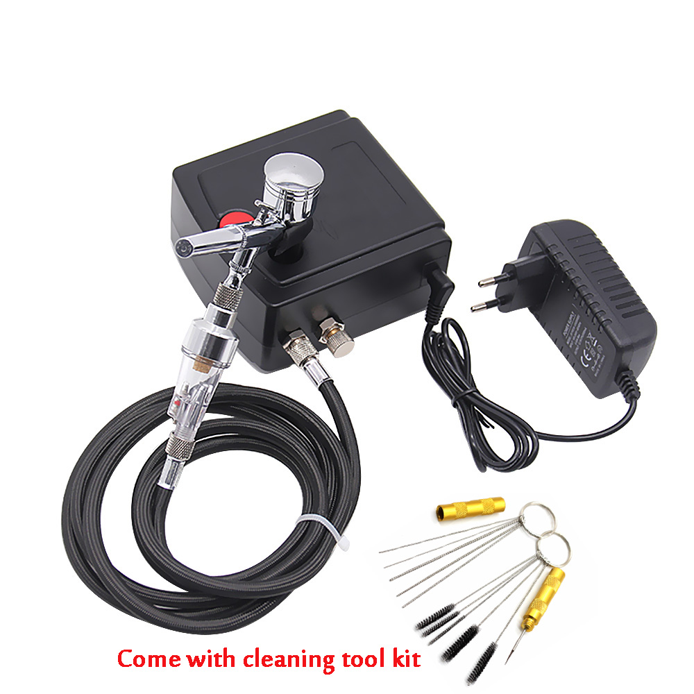 with cleaning tool kit Dual Action Airbrush with Compressor Paint Spray Gun For Nail Art Tattoo mini air brush Compressor Cake