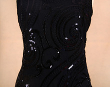 BLINGSTORY brand clothes shop newest desinger beading sequin flower black club dress Dropshipping KR3077-5
