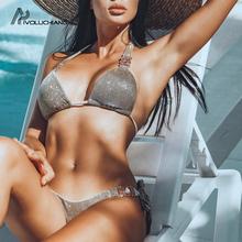 2019 Rhinestone diament luksusowy złoty strój kąpielowy kobiety zestaw Bikini Push-Up Sexy błyszczące kryształowe stroje kąpielowe damskie stroje kąpielowe tanie tanio CN (pochodzenie) Stałe Osób w wieku 18-35 lat Niski stan Bikini set Drut bezpłatne A7052 WOMEN Pasuje prawda na wymiar weź swój normalny rozmiar