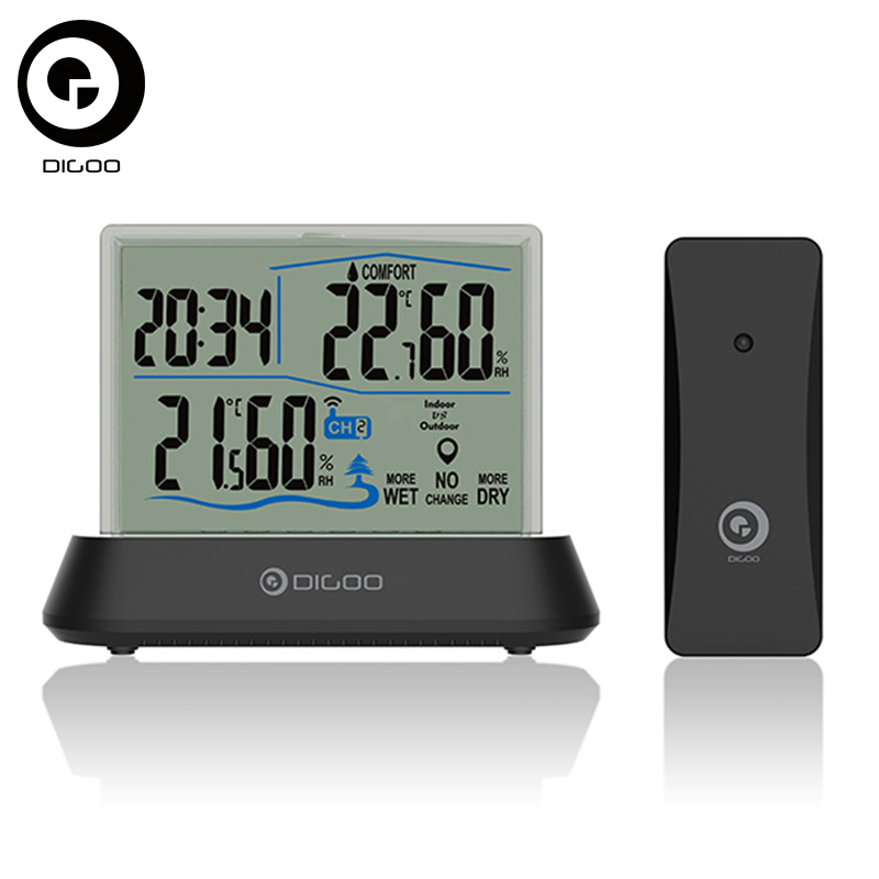 Digoo DG-TH1001 Hygrometer Thermometer Wireless Transparent Screen In&Outdoor Hygrometer Thermometer Indicator Sensor Clock