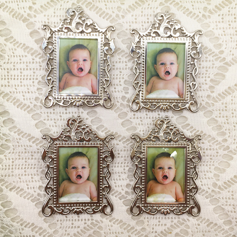 20pcs/lot Wedding Favors Baby Christening Gifts Baby Shower Favors Cute Metal Fridge Magnet Photo Frame-in Party Favors from Home & Garden    3